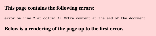 An error caused by a compatibility issue between the sitemap, the theme and the page builder