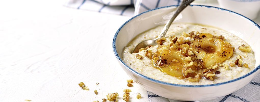 Porridge with Pear & Walnut Topping